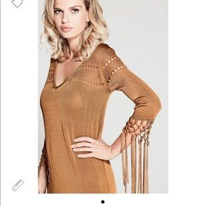MARCIANO Gold long fringe maxi dress